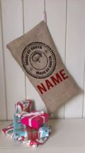 Personalized Made By Santa Stamp Father Christmas Xmas Santa Sack / Stocking Bag Jute Hessian